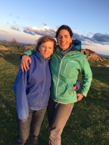 The author and her eldest daughter on top of the mountain for a picnic on a windy evening.